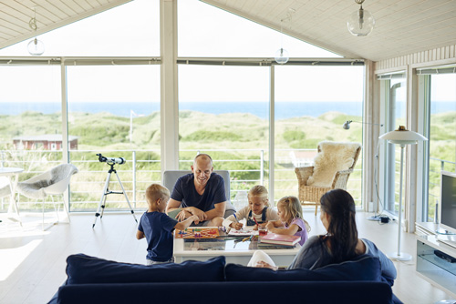 A family enjoys the holiday in a cottage